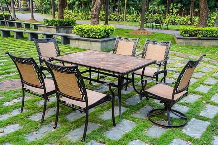 Decorative Dark Brown Aluminum Sling Chair 1