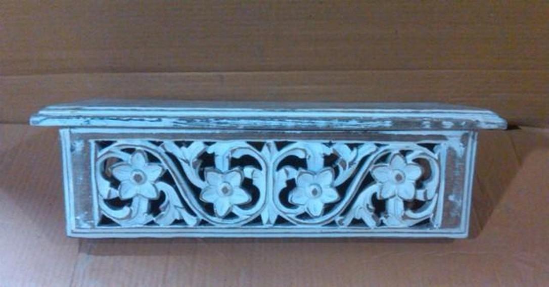 "18''x 6"" Decorative Floral  Blue washed Wooden Shelves"