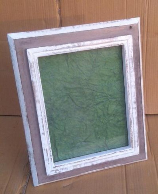 White Brown Shadow With Green Wooden Photo Frames