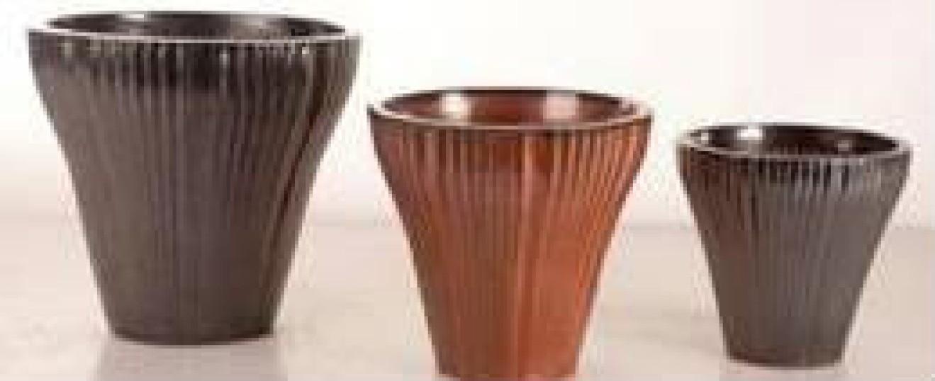 New Designer Ht 14'' Black Ceramic Planter