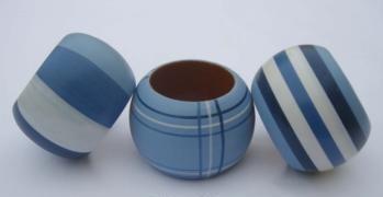 Set Of 3 Blue Wooden Napkin Rings