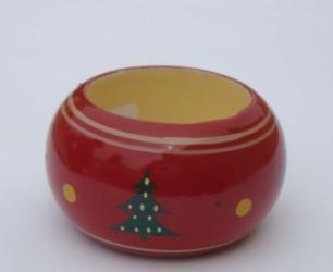 Red Enamel Wooden Napkin Ring(3.3 cm. Width)