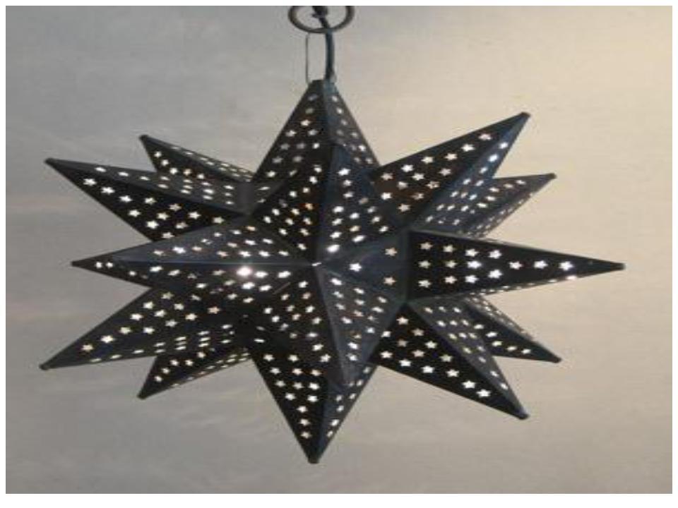 """Disco black hanging star lantern size-16"""""""