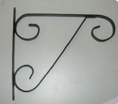 "Black Decorative Hanging Basket Bracket 13"" L x 16"" H"