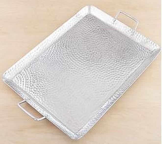 16 Inch Aluminum Shiny Polish Hammered Tray With Handle