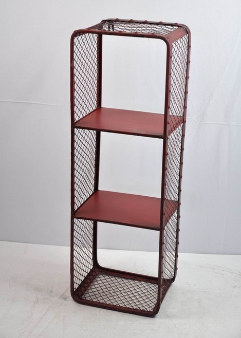2 Tiers Red Coating Metal Wall Shelf