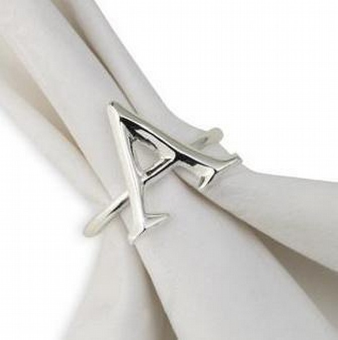 3 Inch Alphabet A Letter Napkin Ring
