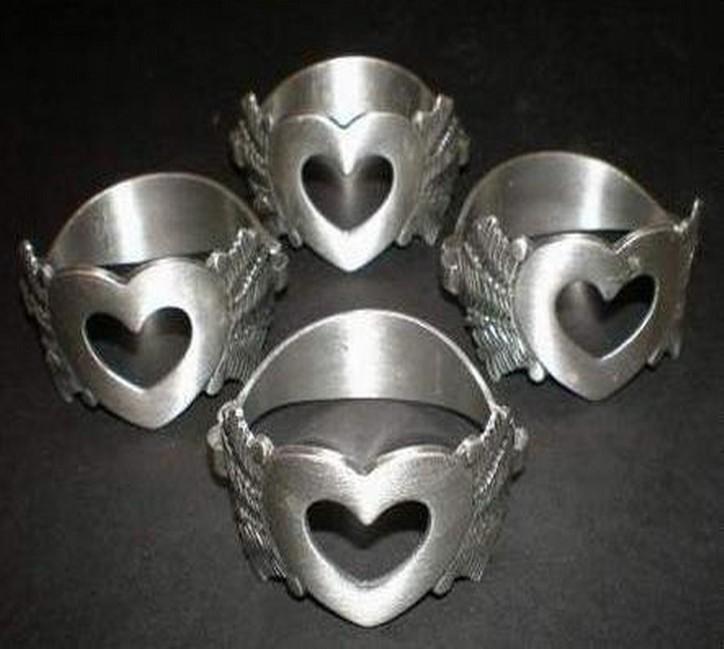 Aluminum Mat Finish Heart Shaped Napkin Ring