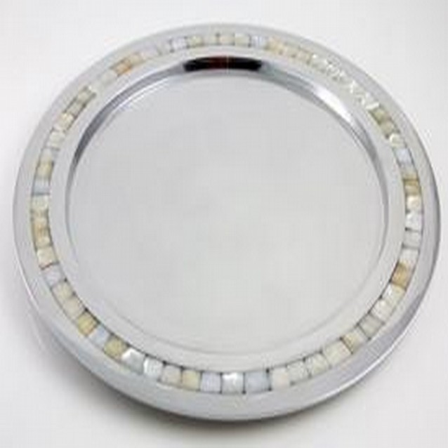 Aluminum Shiny Polish Mother Of Pearl Round Platter
