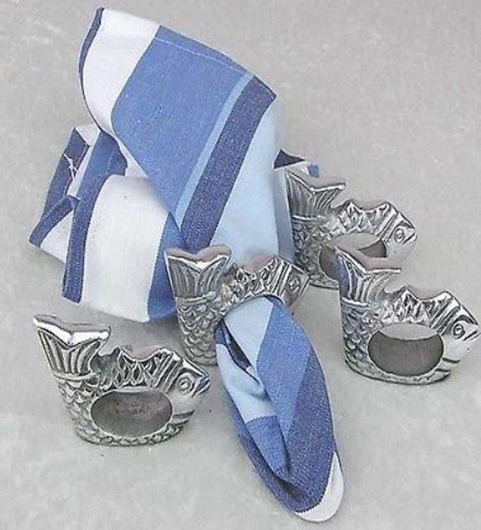Aluminum Silver Plated Fish Napkin Ring Set