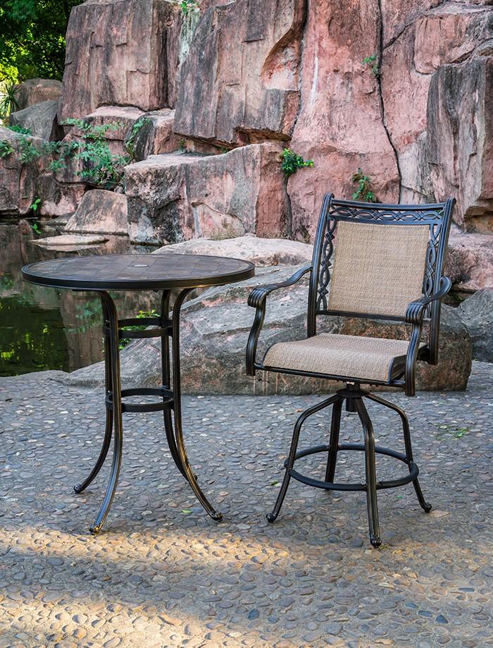 Aluminum & Sling Fabric Matte Black Swivel Barstool