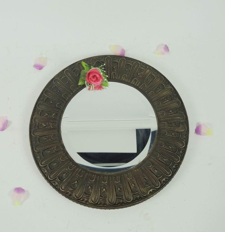 Antique Bronze Finish Metal Wall Mirror