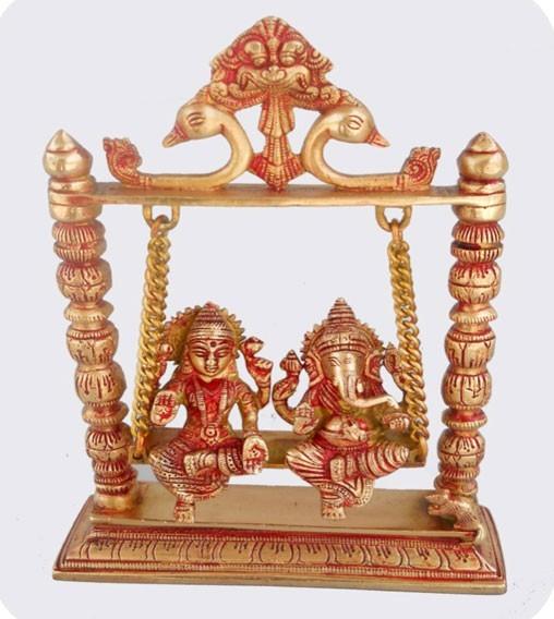 Antique Finish Laxmi Ganesh Swings, 10 Inches