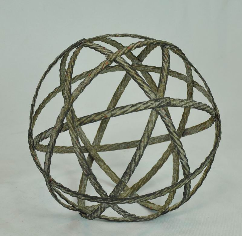 Antique Gray Twisted Metal Ball Decor