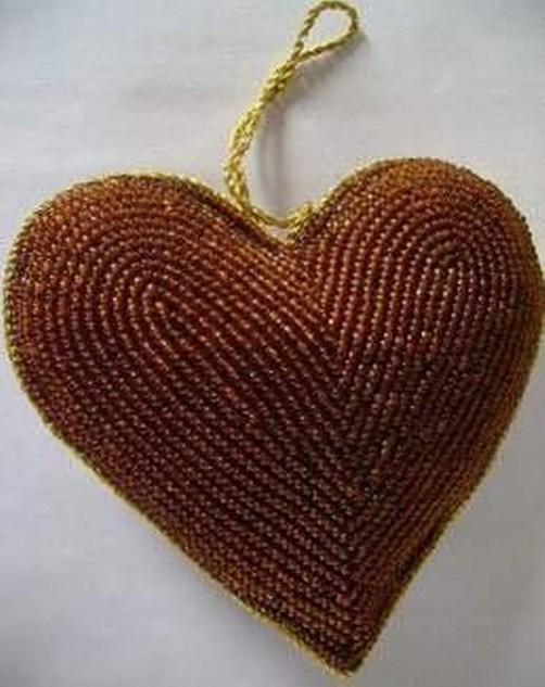 Beaded Hanging Christmas Heart