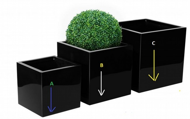 Black Color Square Flower Planter Set of 3Pcs