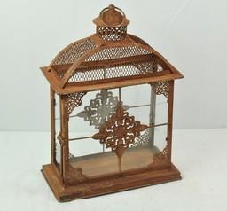Brown Decorative Box Style Metal Hanging Lantern