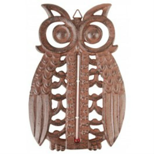 Cast Iron Owl Design Thermometer