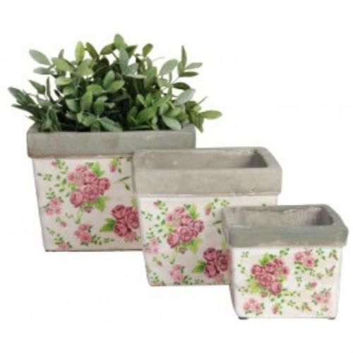 Ceramic Rose Print Planter Set of 3 Pcs