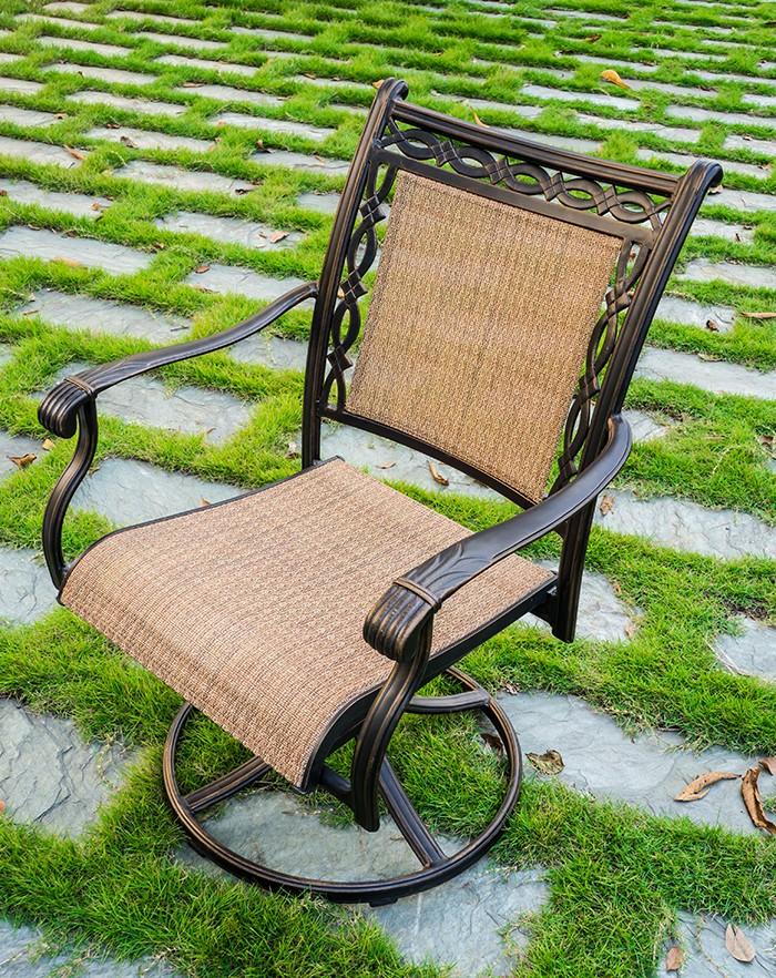 Dark Brown Aluminum Sling Swivel Chair