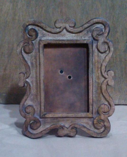 Dark Walnut Hand Curved Wooden Photo Frame