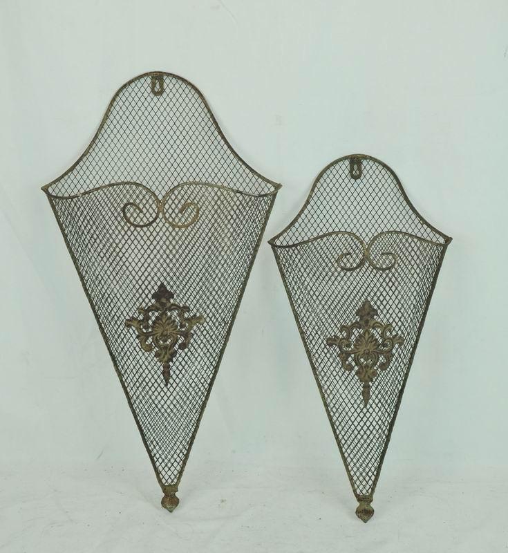 Decorative Antique Metal Wall Pocket (Set 2)