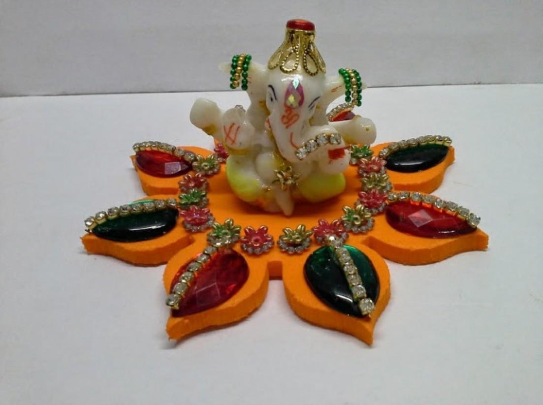 Decorative Kundan Design Ganesh Idol