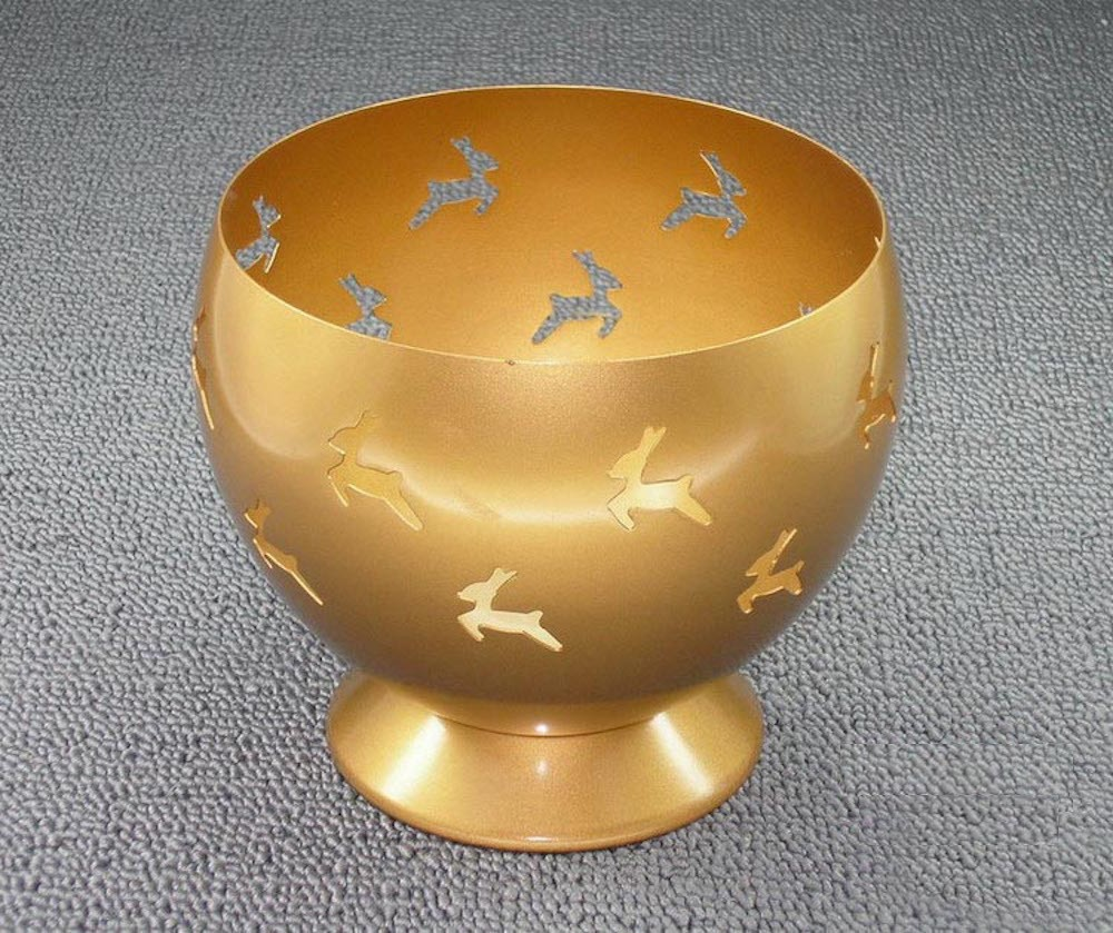 Deer Cutout Design Golden Candle Holder