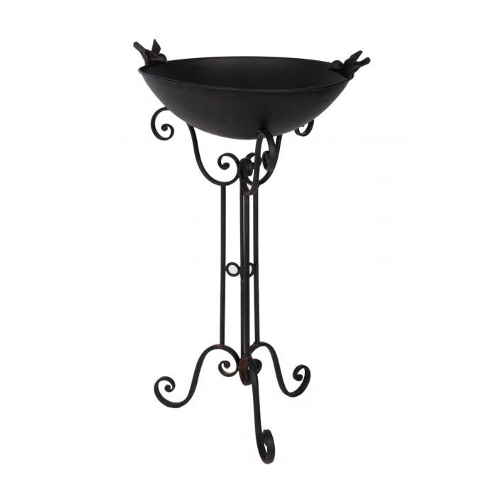 Durable Black Iron Bird Bath And Stand