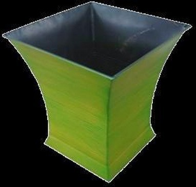 Green Flared Square 10 Inch Metal Flower Pot