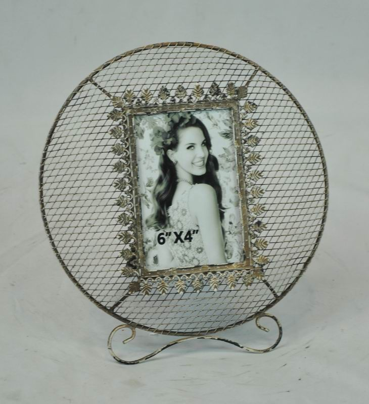 Golden Decorative Round Metal Wire Photo Frame