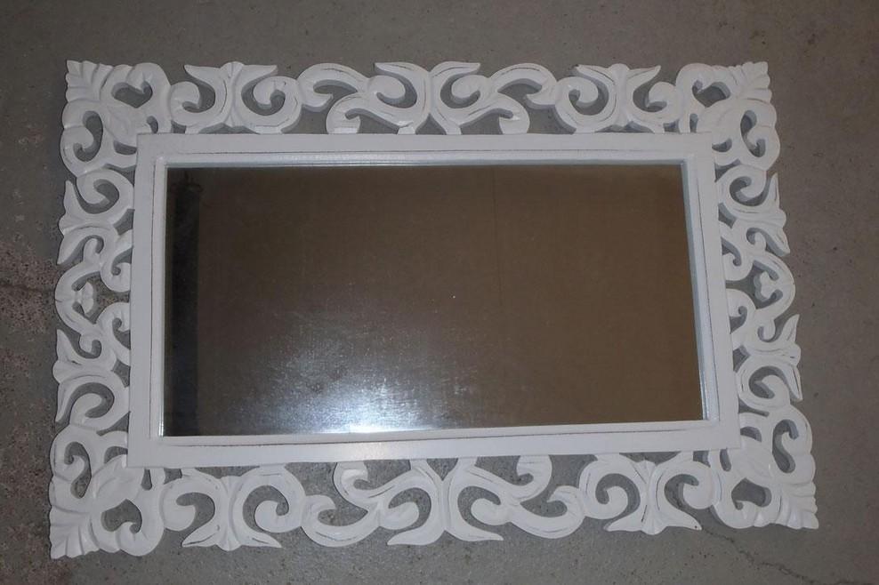 Hand Curved Vintage White Wooden Mirror Frame