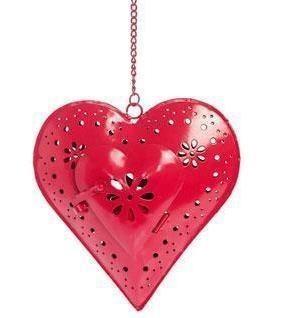 Hanging Christmas Heart Tea Light Holder