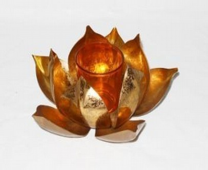 Iron Golden lotus With Glass