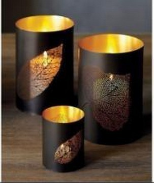 Iron Leaf Etching Candle Holder