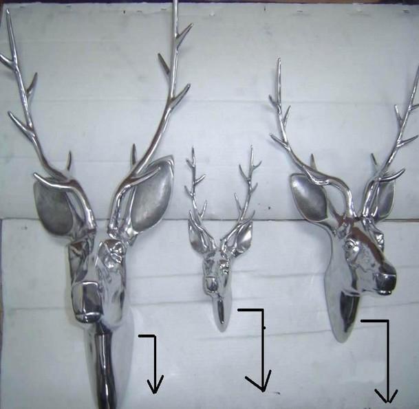 Large Polished Aluminium Deer Head