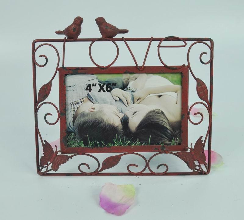 Love Sign & Bird Carving Metal Photo Frame