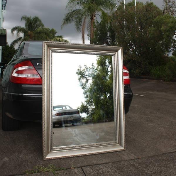 Mango Wood Silver Finish Mirror Frame