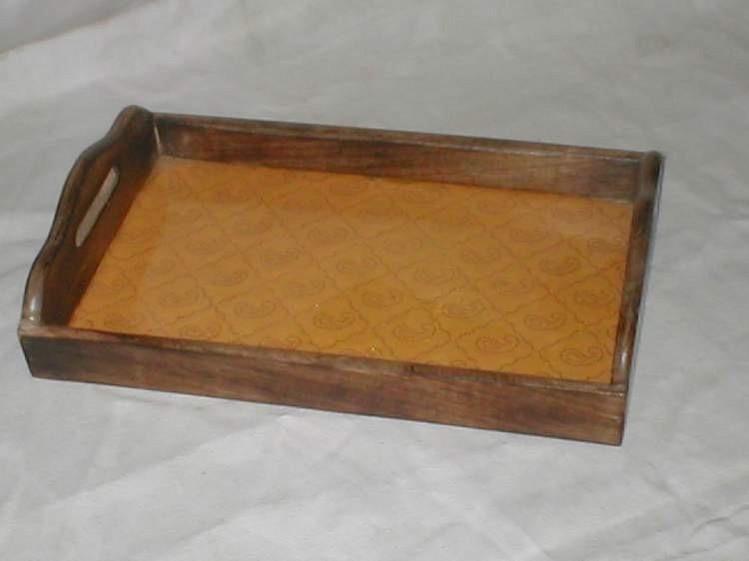 Mango Wooden Orange Decorative Design Tray