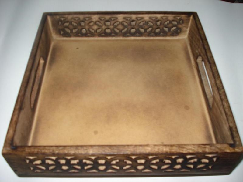 Mango Wooden Cutout Design Serving Tray 15'' x 15""
