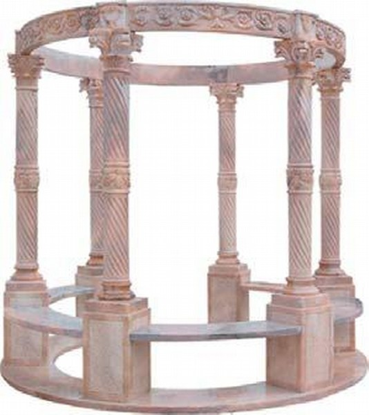 Marble sculpture in round shape sun red color
