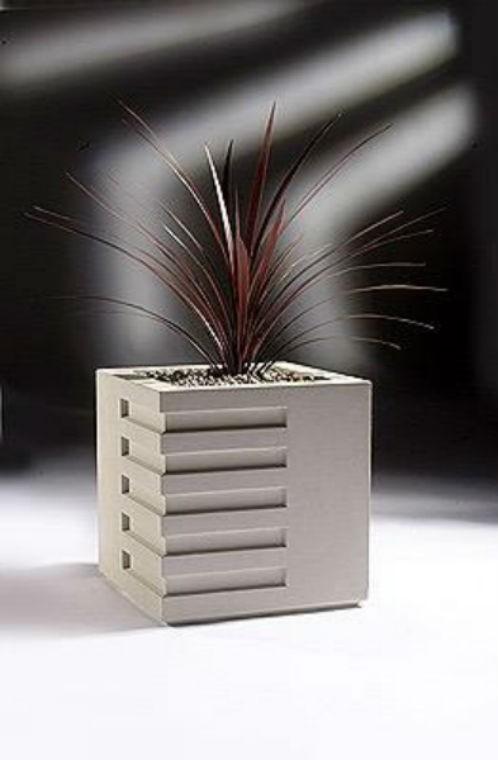 Matte Gray 12 Inch Square Fiberglass Planter