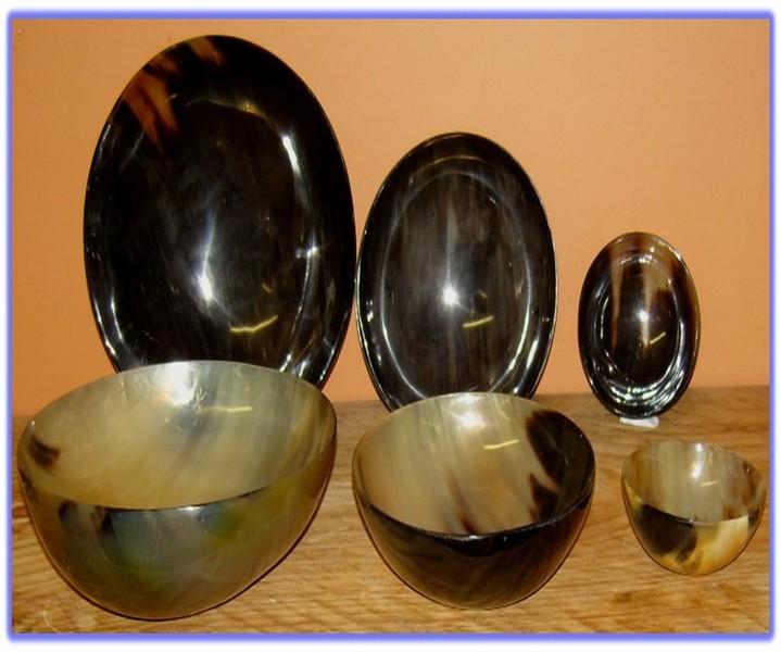 Medium Natural Horn Bowl & Charger 3Pcs Set