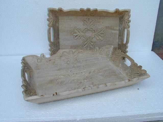 Medium Walnut Wooden Decorative Curved Serving Tray