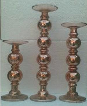 Medium Pillar Candle Holder In Antique Golden