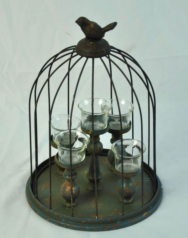 Metal Shabby Chic Bird Cage Candle Holder