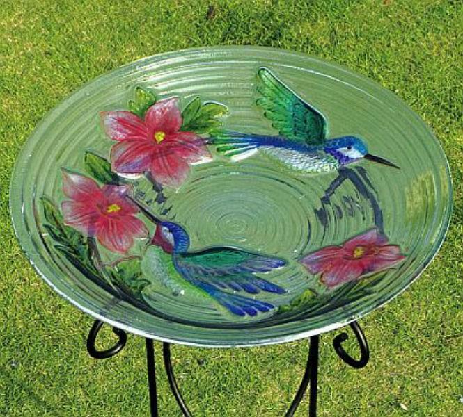 Modern Glass Bird Bath With Bird and Flower Design