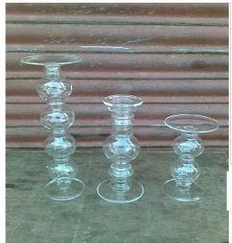 Pillar Candle Holder In Clear Glass(Ht 9'' X Dia 3.2)