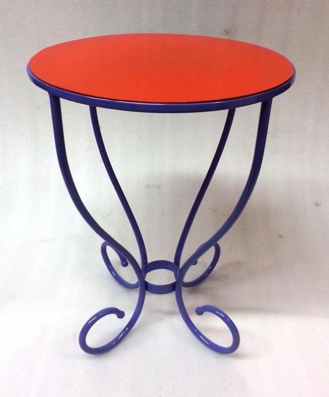 Purple With Orange Finish Iron Stool