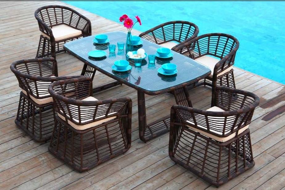 Rattan Chair and Table Set